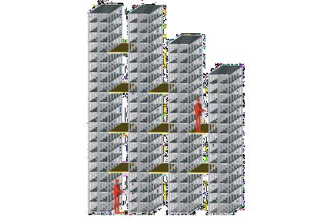 Rayonnages à tiroirs avec étage